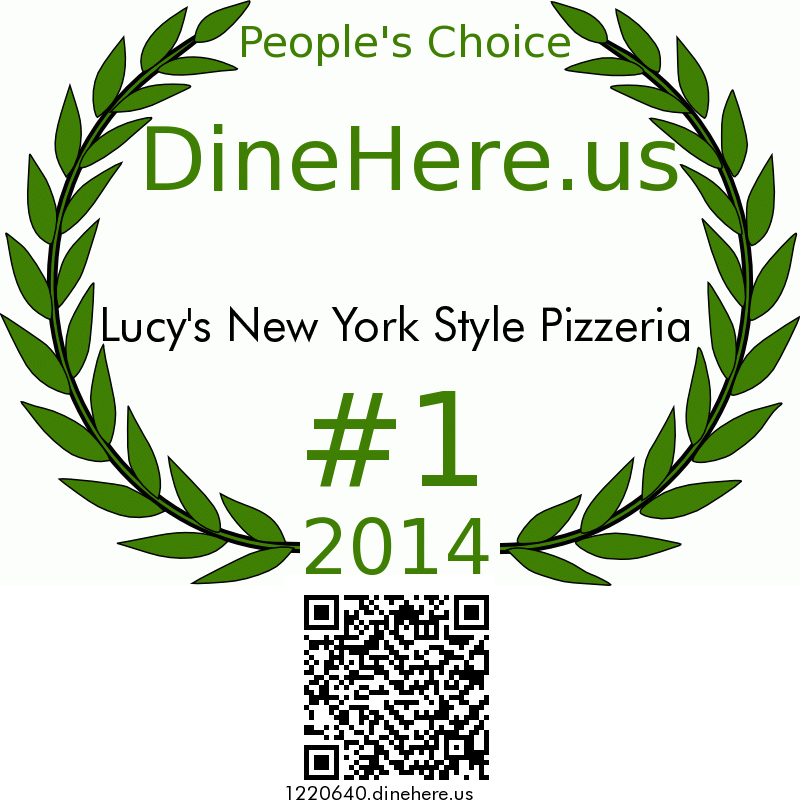 Lucy's New York Style Pizzeria DineHere.us 2014 Award Winner